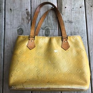 Louis Vuitton Gold Leather Vernis Tote. Authentic.